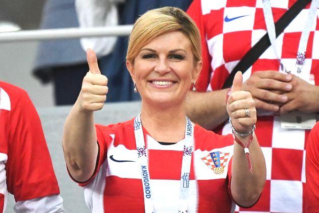 Kolinda Grabar-Kitarovic Présidente de la Craotie au mondial de footbal 2018 en Russie